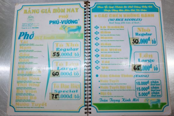 Pho Menu in Saigon Vietnam
