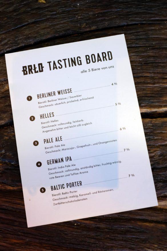 Lister der Biere vom Tasting Brett
