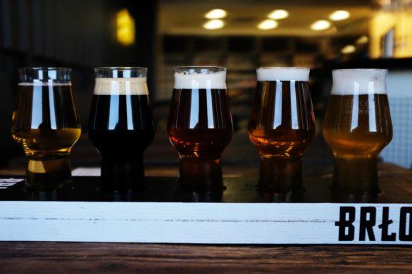 Craft Bier Testing Brett mit kleinen Gläsern